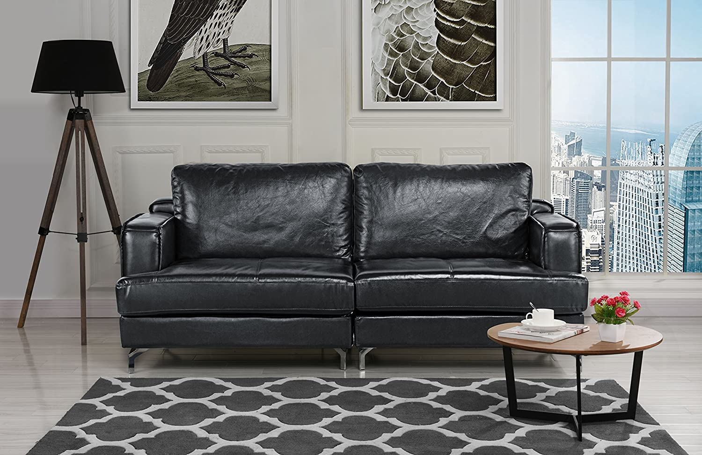 Amazon Com Ultra Modern Plush Leather Living Room Sofa Black Kitchen Dining