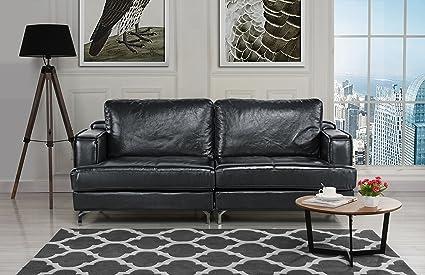 Ultra Modern Plush Leather Living Room Sofa (Black)