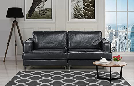 Ultra Modern Plush Leather Living Room Sofa (Black)