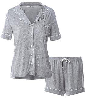 d66bdc8def Matt Viggo Damen Kurzer Schlafanzug Kurzarm V-Ausschnitt Modal Hausanzug  Pyjama mit Knöpfen