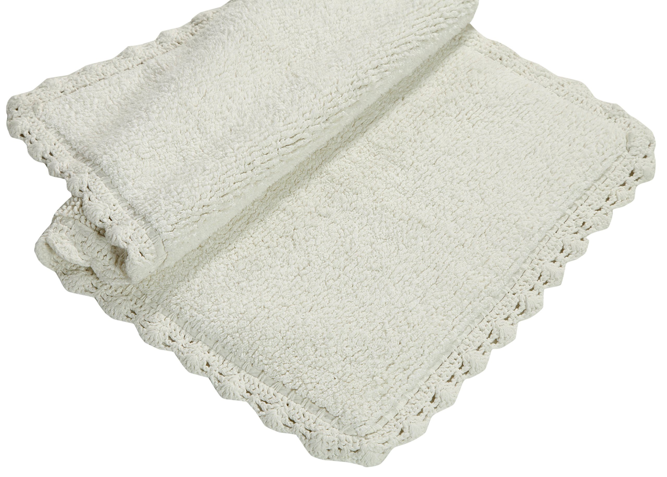 Chesapeake Merchandising Crochet 2-Piece Bath Rug Set, 21 by 34-Inch and 17 by 24-Inch, Ivory