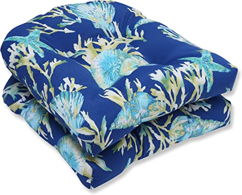 Pillow Perfect Outdoor Indoor Daytrip Pacific Tufted Seat Cushions Round Back , 19 x 19 , Blue, 2 Pack