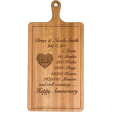 LifeSong Milestones Personalized 5th Year for Him Her Wife Husband Couple Cheese Cutting Board Customized with