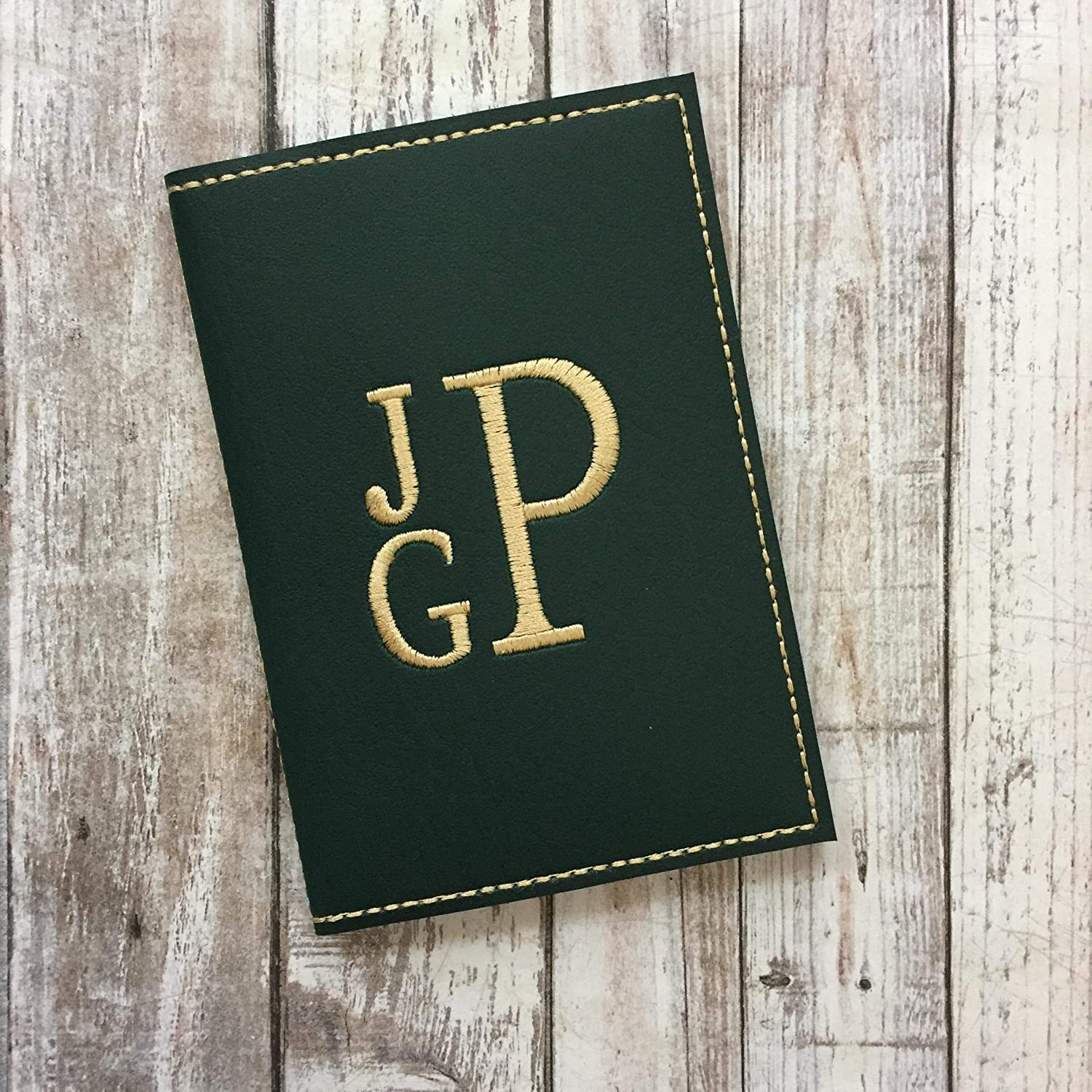 Stacked monogram faux leather passport cover with custom monogram personalized colors