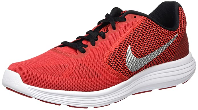 NIKE Men's Revolution 3 Running Shoe, University red/Metallic Silver/Black, 13 D US