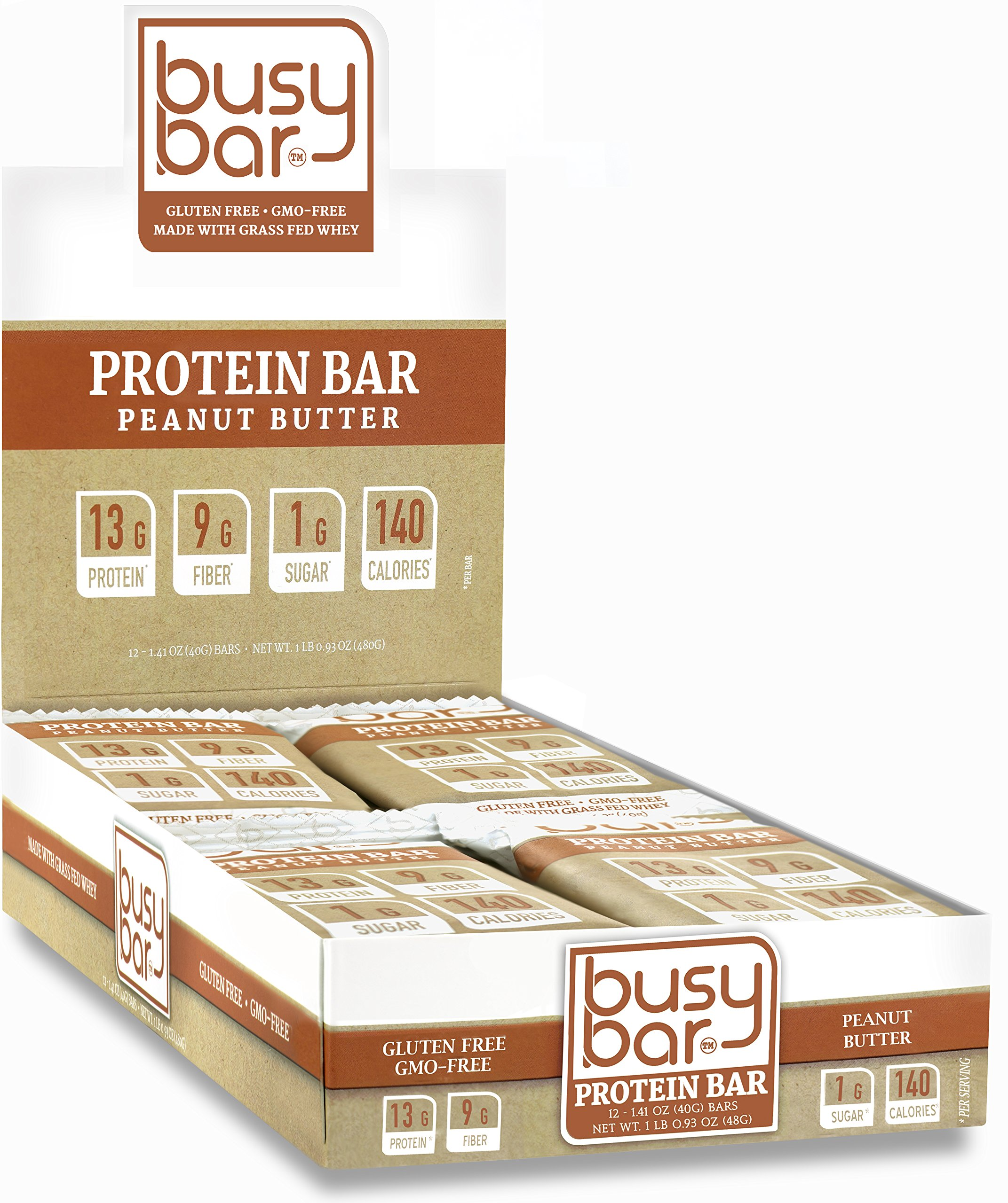 Busy Bar, Grass Fed Whey Protein Bars, Peanut Butter, 1g of Sugar, 13g of Protein, Only 140 Calories, Gluten Free, Low Carb Bar, Soy Free, GMO-Free, Perfect Snack On-The-Go (12 Bars) by Too Busy To Eat