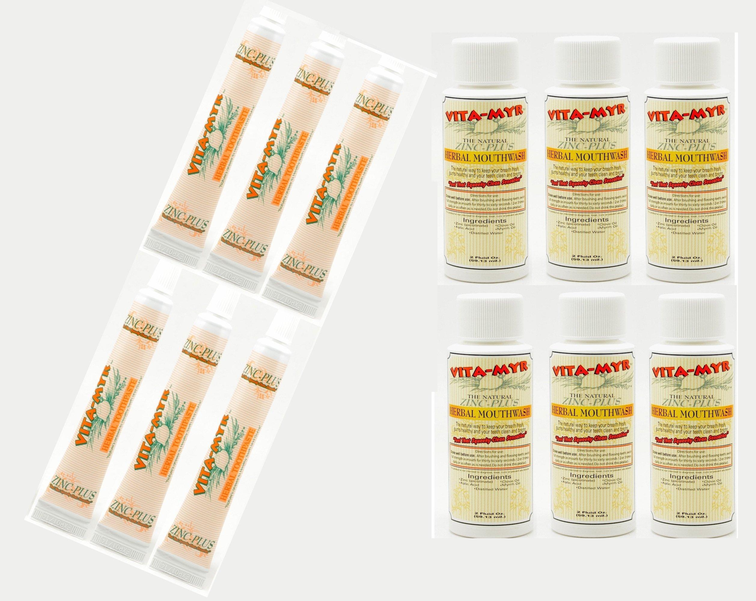 12 Pk VITA-MYR Travel Size Herbal Natural Toothpaste & Natural Mouthwash – Safe & Effective 6ea 2 Oz Mouthwash & 6ea 1 Oz Toothpaste No SLS, No Sugar, No Fluoride Gluten Free & Vegan