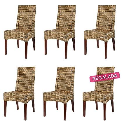 Rotin Design REBAJAS : -55% Lote 6 sillas de ratan para comedor Desna marrones