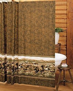 Amazon.com: Western COWBOY horse bathroom SHOWER curtain HOOKS NEW ...