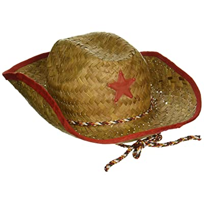 Childs Straw Cowboy Hat With Plastic Star (6 Pack) - BULK: Toys & Games