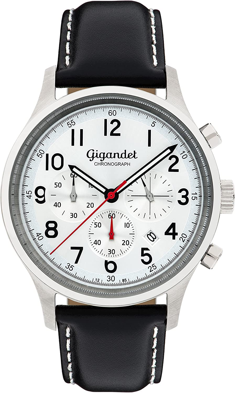 Gigandet Men s Quartz Watch Efficiency Chronograph Analogue Leather Strap Silver Black G50-002