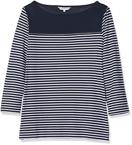 d82f855c Tommy Hilfiger Women's's Mirthe Boat-nk 3/4 SLV Long Sleeve Top,  Multicolour (Sky Captain/Classic White STP 901), Large: Amazon.co.uk:  Clothing