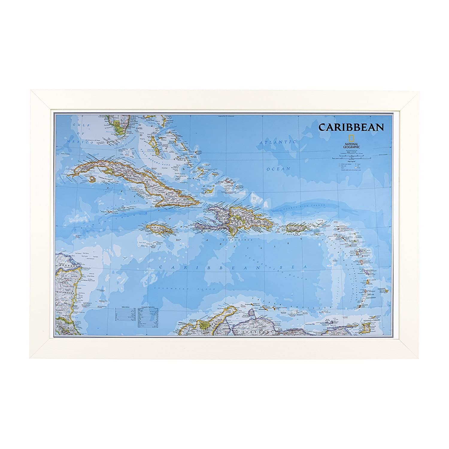 Amazon.com: Push Pin Travel Maps Classic Caribbean with Textured White Frame and Pins 24 x 36: Posters & Prints