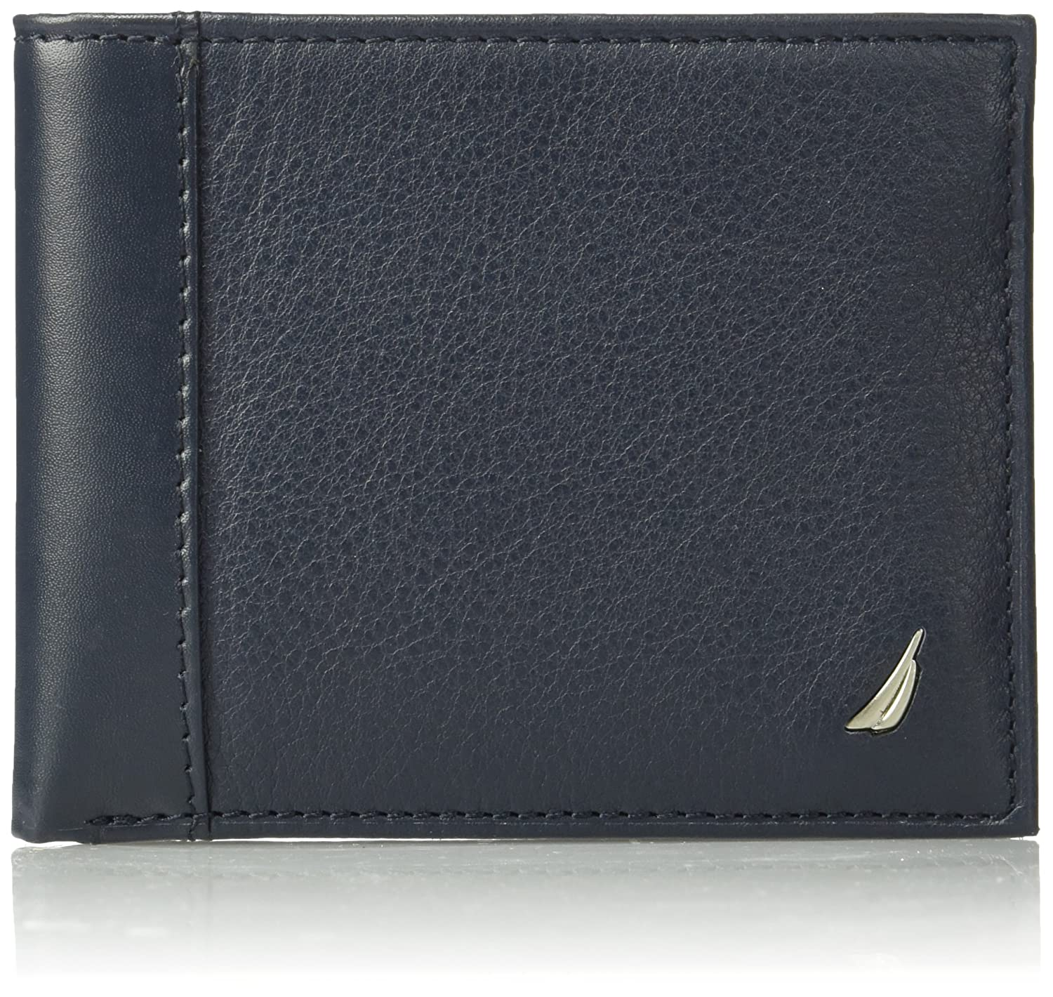Nautica Mens Milled Leather Passcase Wallet