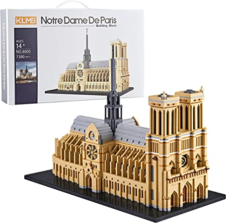 KLMEi Big Architecture Model Kits Notre Dame De Paris Micro Blocks 7380 Pieces Model Building Kit, Creative Building Set for Adults, Gift for Any Hobbyists New( with Color Gift Package)