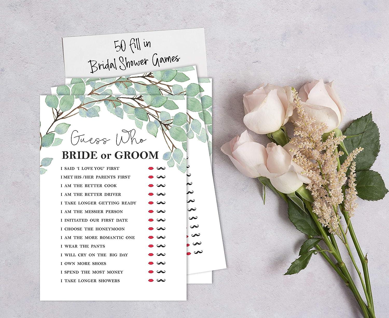 Inkdotpot Bridal Wedding Shower Bachelorette Party Bulk Blank Square Fill in Gift Ideas 50/Greenery/Bingo/Game/Cards