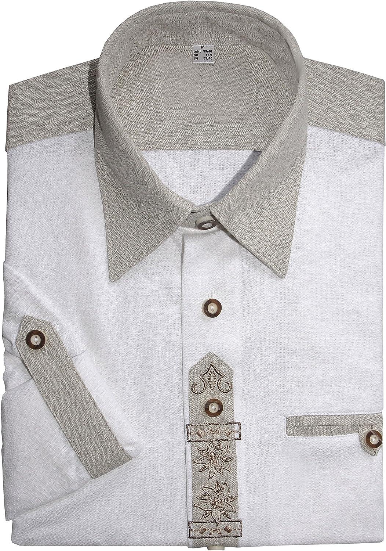 Moschen-Bayern Camisa de Manga Larga para Hombre, Pradera, para Traje Regional o Oktoberfest, Color Blanco Blanco L: Amazon.es: Ropa y accesorios