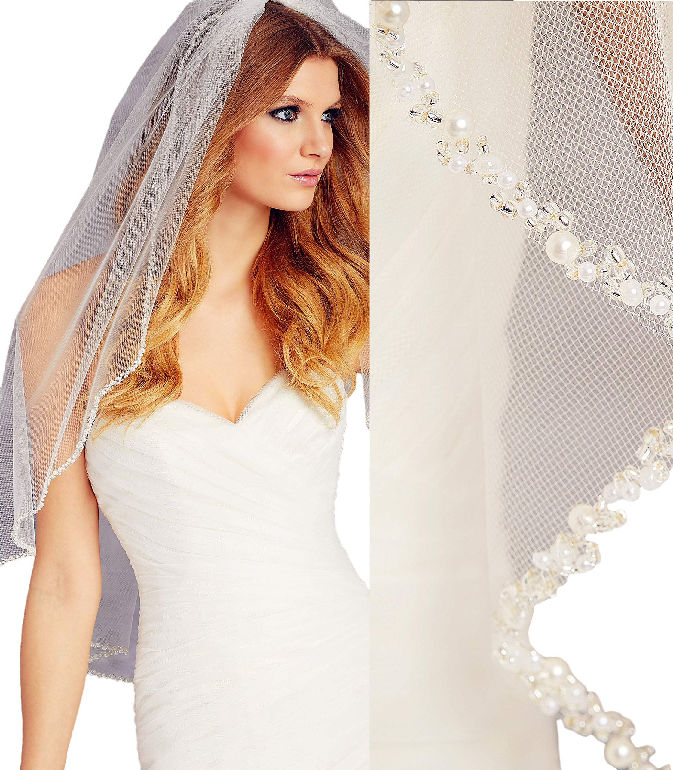 Passat Ivory 1T Ballet/Tea Wedding Veil Edged with Pearls and Beads bridal veil VL1003