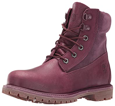 Timberland Women's 6 Inch Premium Double D-Ring WP Boot, Dark Port  Waterbuck,