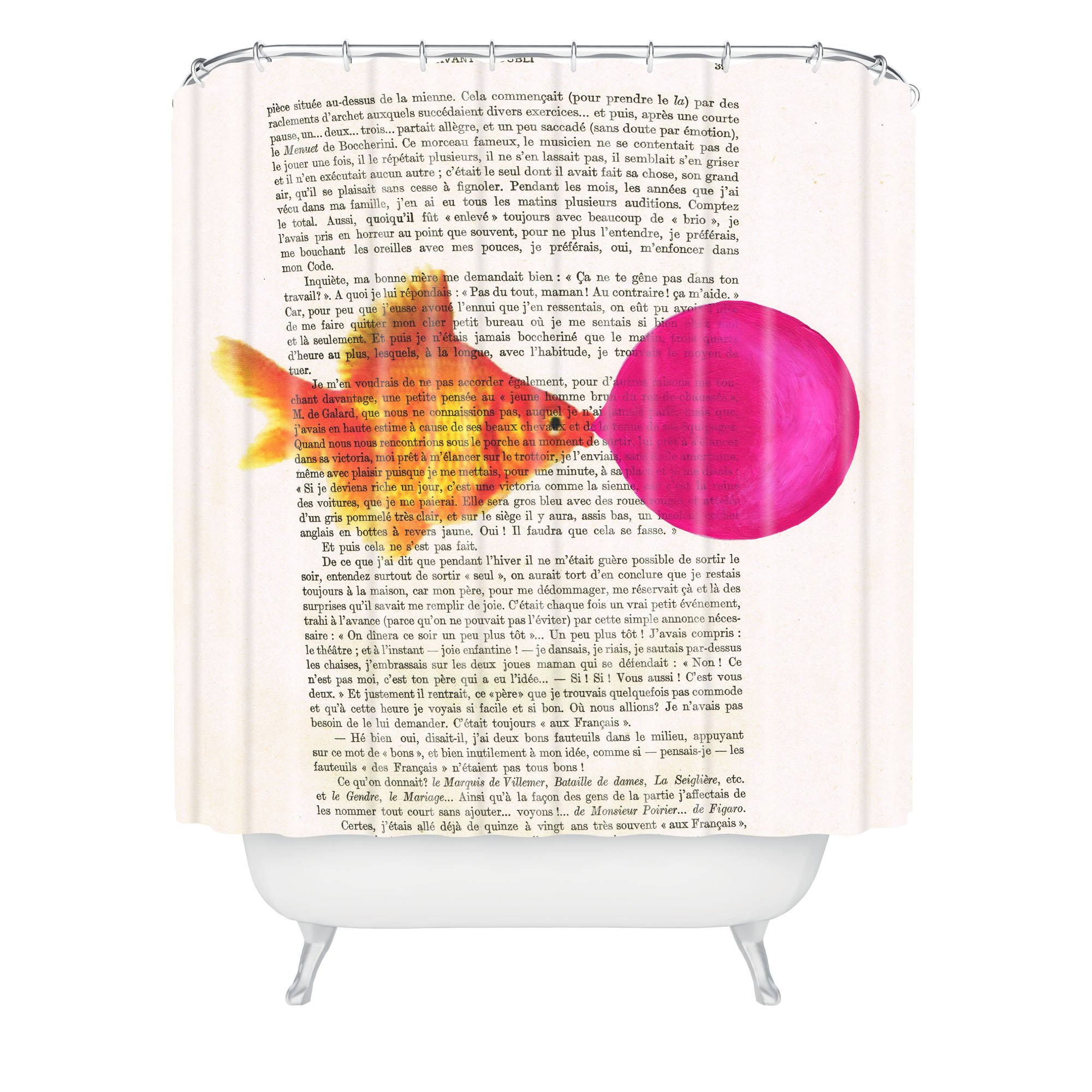 Deny Designs Coco de Paris Goldfish With Bubblegum Shower Curtain, 69'' x 72''