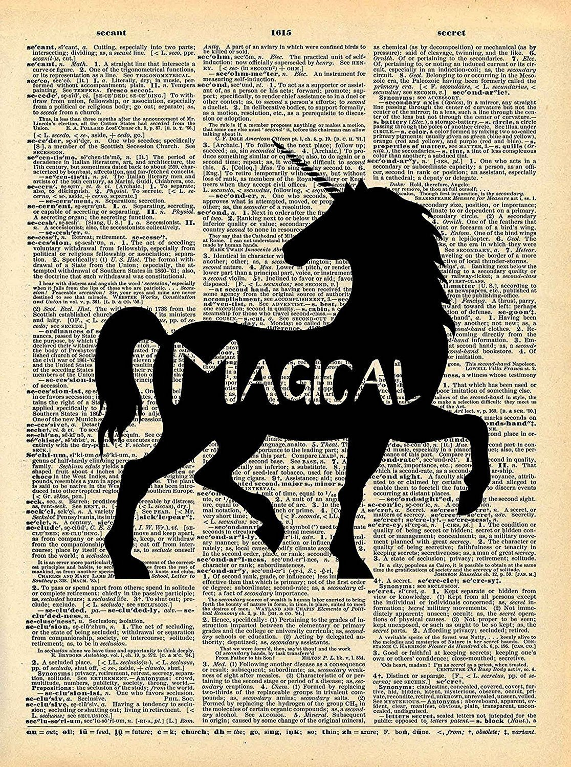 Unicorn Magical Art - Vintage Dictionary Print 8x10 inch Home Vintage Art Abstract Prints Wall Art for Home Decor Wall Decor Living Room Bedroom Ready-to-Frame