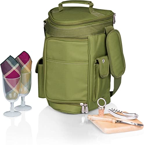 Picnic Time Meritage Insulated Triangular Wine and Cheese Cooler Tote, Olive Green