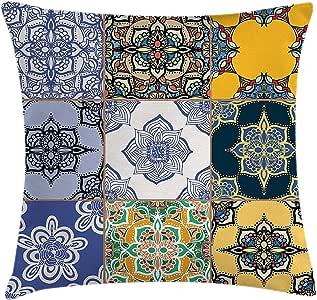 Funda de cojín marroquí, juego de patrones de azulejos