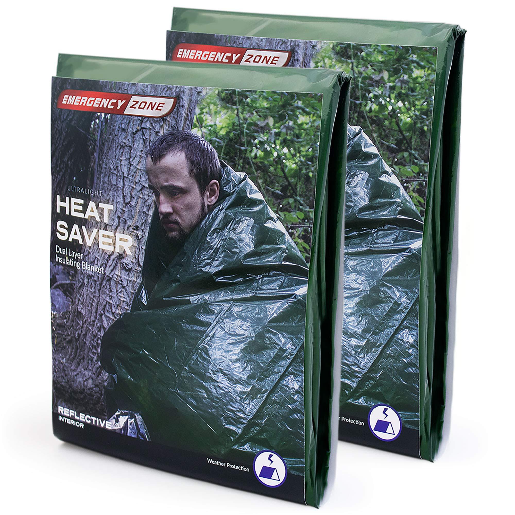 Emergency Zone Ultralight HeatSaver Dual Layer Insulating Emergency Blanket. 2 Pack