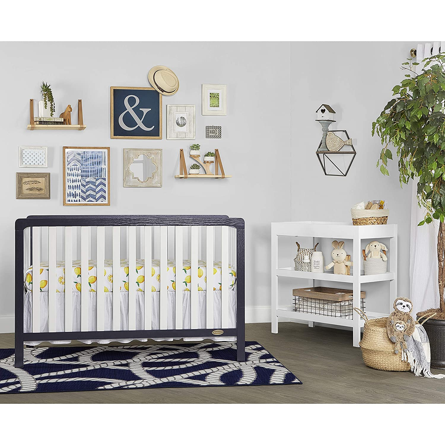 Dream On Me Ridgefield II 5-in-1 Convertible Crib, White with Wire Brushed Navy