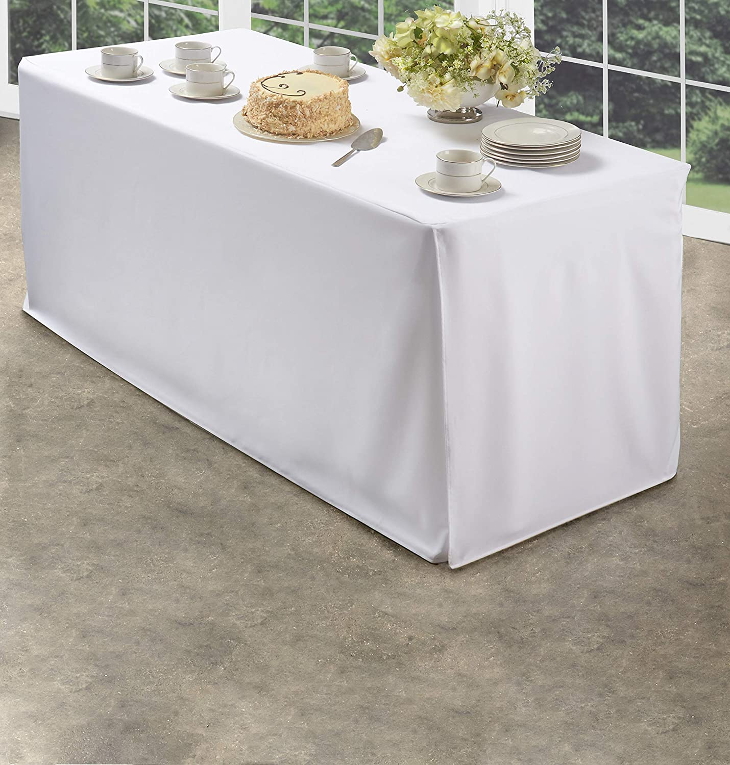 Amazon Com Folding Table Cover Fitted Tablecloth For 4 Foot Folding Table Ivory Home Kitchen