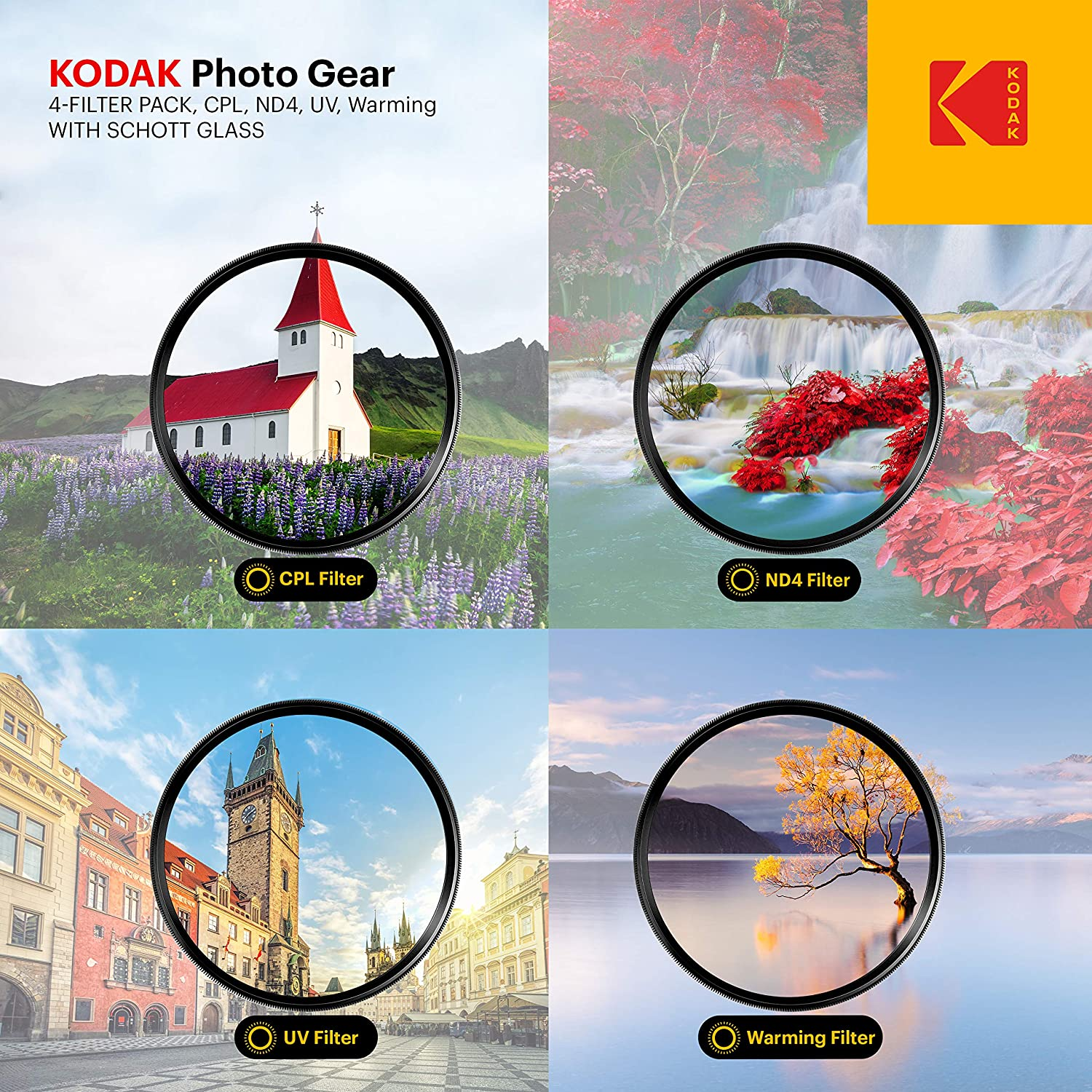 Slim Waterproof Polished Nano Multi-Coated 16 Layers Retro Case /& Mini Guide CPL Pack of 4 UV ND4 /& Warming Filters for Various Effects KODAK 49mm Schott Glass Filter Set PhotoGear +
