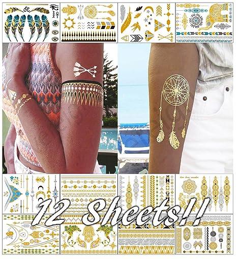 Metálico Tatuajes Temporales Para Las Mujeres Adolescentes Niñas