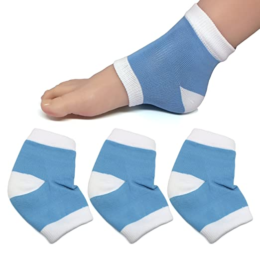 ZenToes Moisturizing Heel Socks with Gel to Heal Dry Cracked Heels (Cotton, Blue)