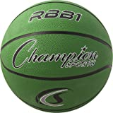 Champion Sports Heavy Duty Rubber Cover Nylon Official Basketballs (Green, Size 7)