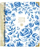 """Bloom Daily Planners 2018-2019 Academic Year Hard Cover Vision Planner - Monthly/Weekly Column View Day Planner Agenda Calendar Organizer - (August 2018 - July 2019) -7.5"""" x 9""""-Blue & White Floral"""