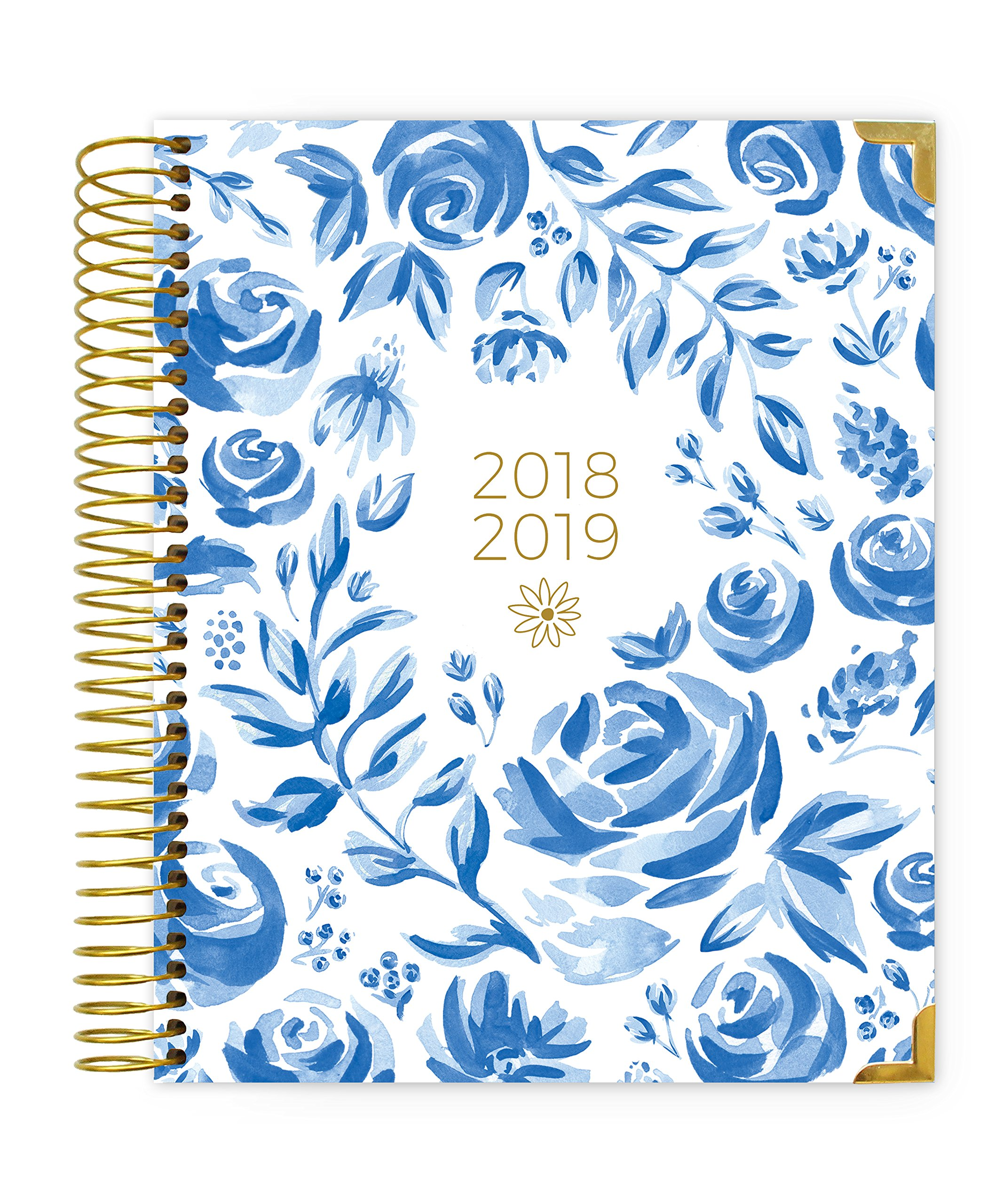 bloom daily planners 2018-2019 Academic Year Hard Cover Vision Planner - Monthly/Weekly Column View Day Planner Agenda Calendar Organizer - (August 2018 - July 2019) -7.5'' x 9''-Blue & White Floral