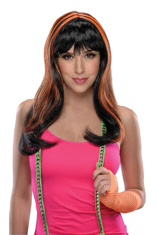 Rubie's Costume Streaks Wig Neon Orange/Black One Size Rubies Costumes - Apparel 52773