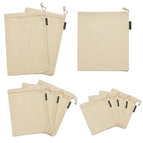 Amazon.com: Malla de algodón reutilizable que produce bolsas ...