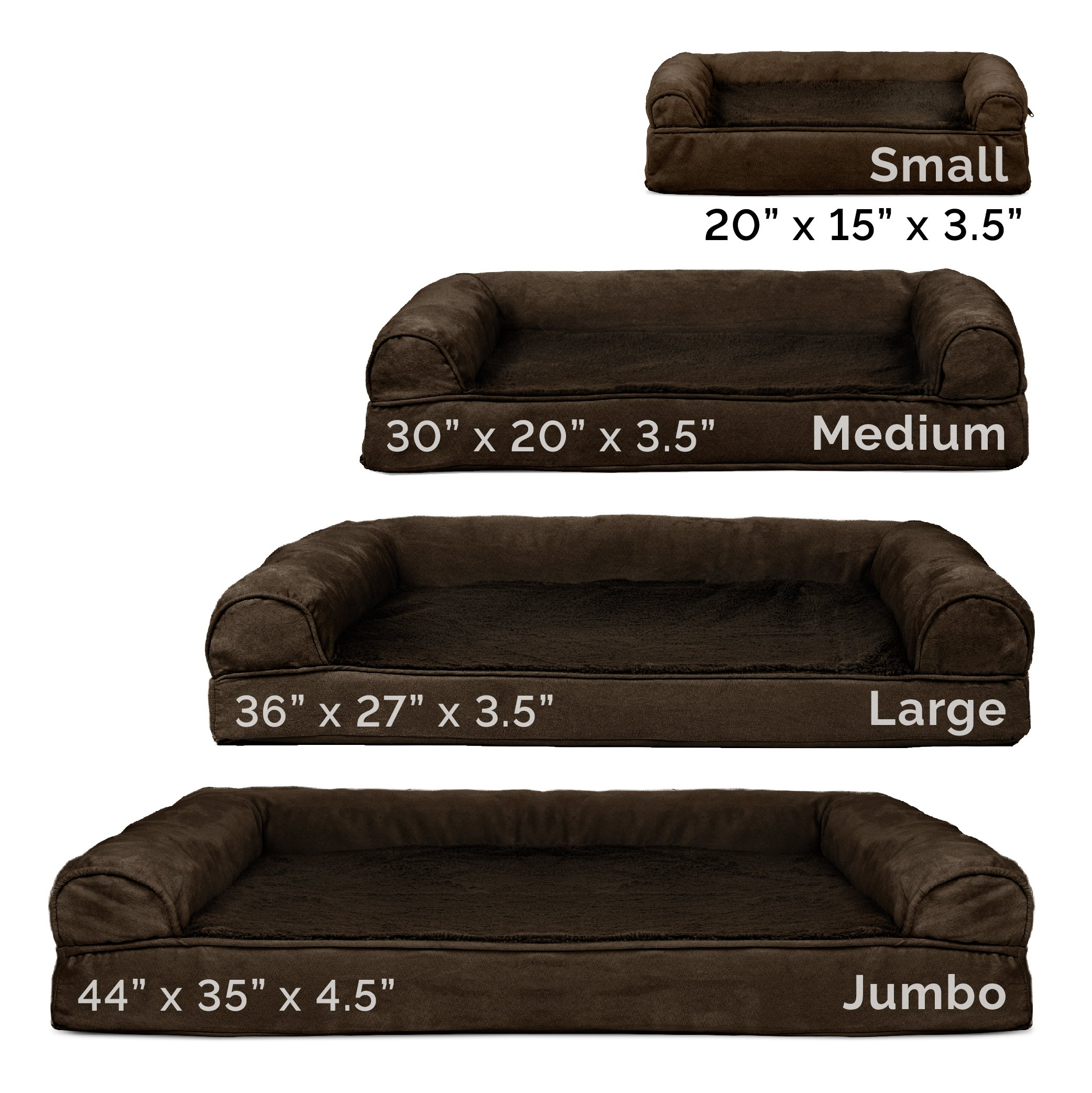 FurHaven Orthopedic Ultra Plush & Velvet Sofa-Style Couch Pet Bed for Dogs and Cats, Espresso, Large by Furhaven Pet (Image #8)