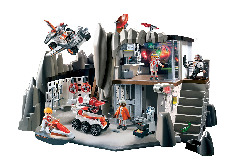 Amazon.com: PLAYMOBIL Secret Agent Headquarters with Alarm System: Toys & Games