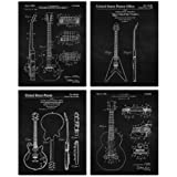 Vintage Gibson Guitar Patent Poster Prints, Set of 4 (8x10) Unframed Photos, Great Wall Art Decor Gifts Under 20 for Home, Of