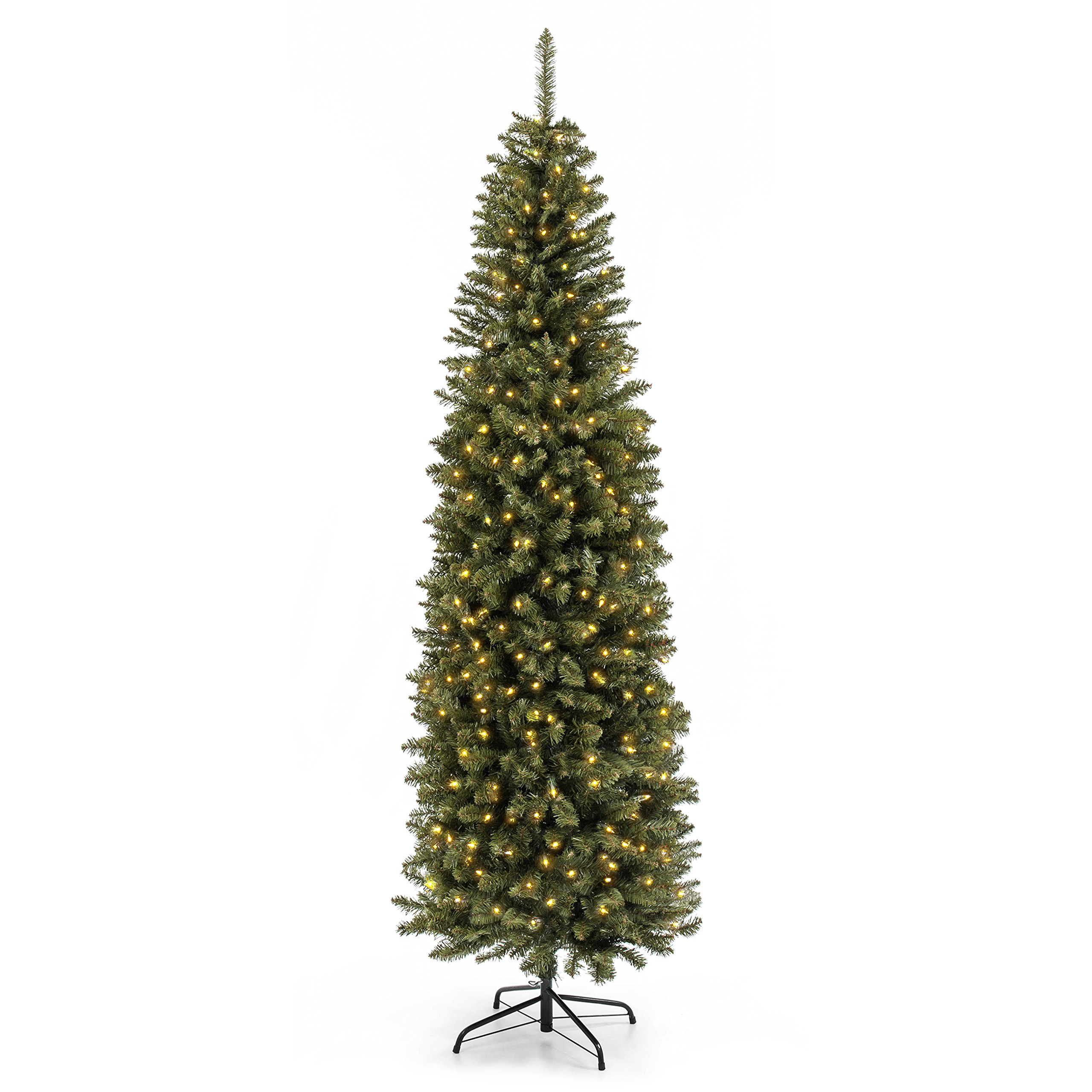 Best Choice Products 7.5FT Pre-Lit Premium Hinged Fir Pencil Christmas Tree w/350 UL 588 Certified Lights, Stand
