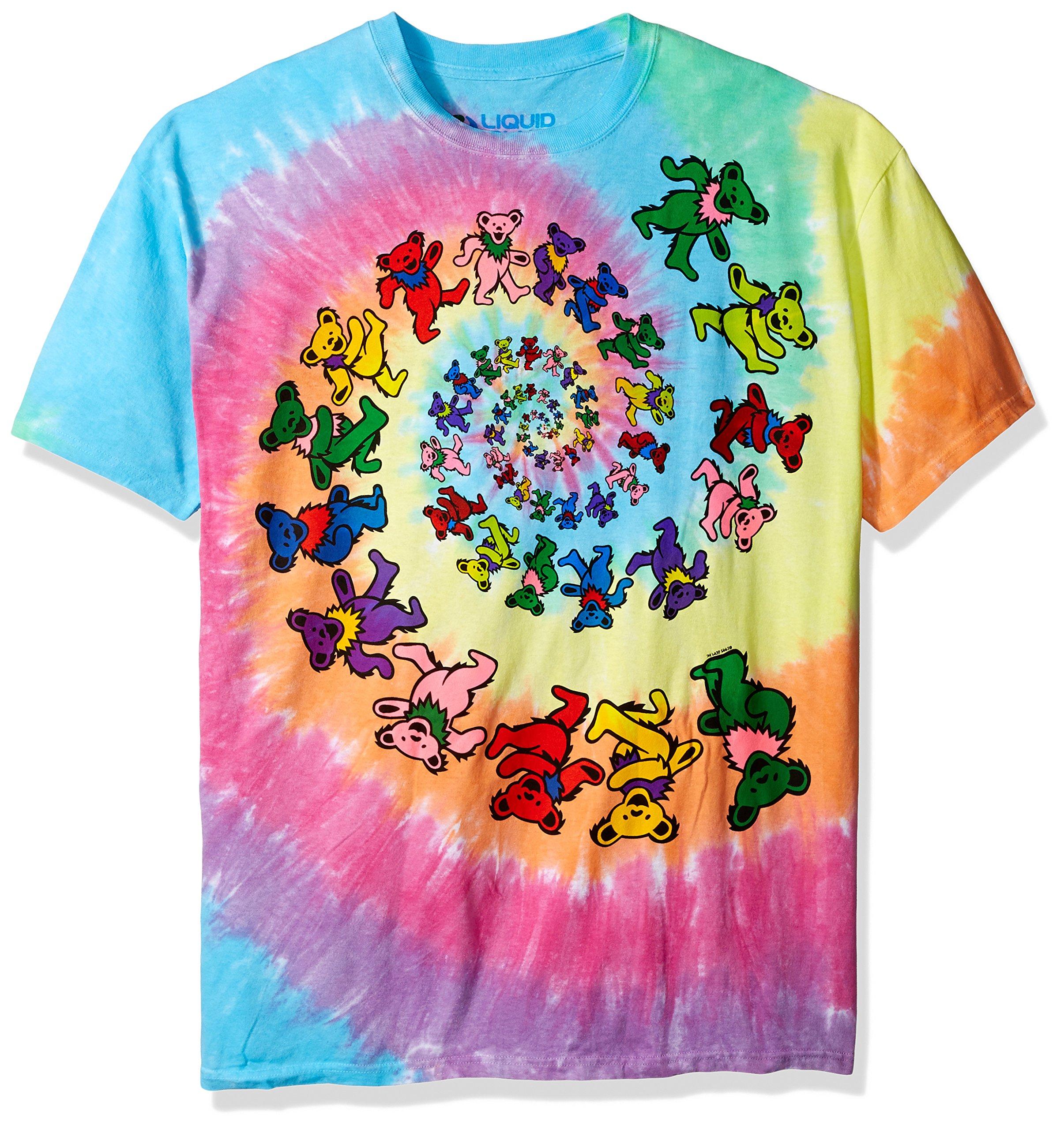 Liquid Blue Men's Grateful Dead Spiral Bears T-Shirt, Multi, X-Large