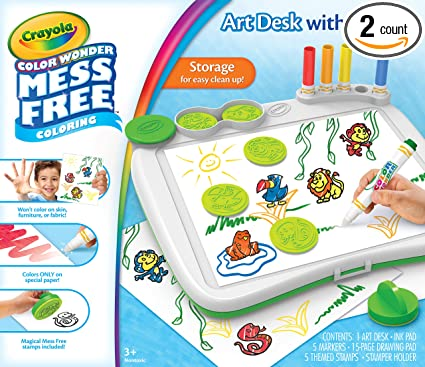 Crayola Color Wonder Mess Free Art Desk With Stamps Coloring Board 2 Packages