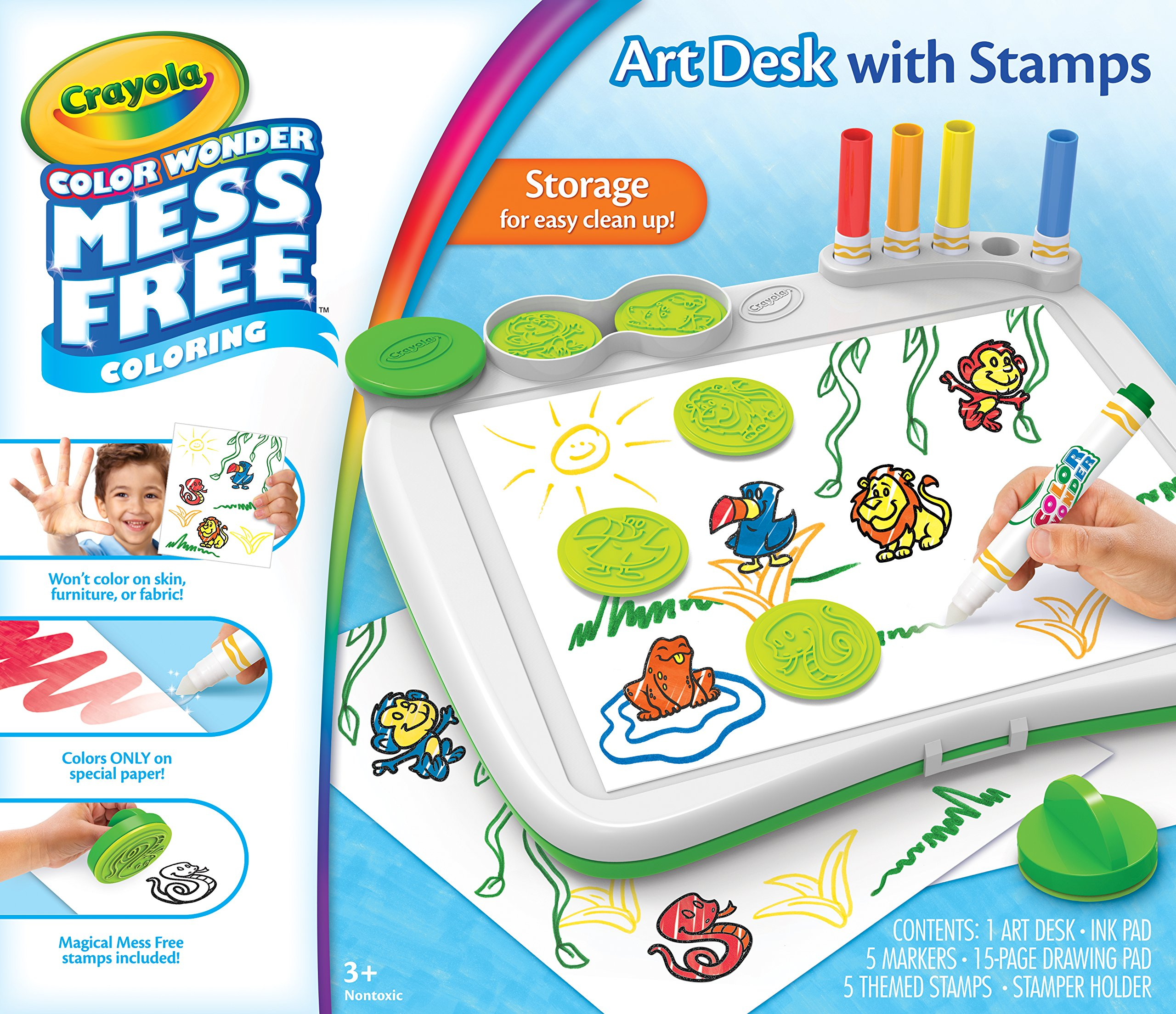 Crayola Color Wonder Art Desk with Stamps, Coloring Board, Mess