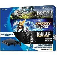 Consola PlayStation 4 Slim, 500 GB, con Juegos Horizon Zero Dawn, The Last of Us, Ratchet & Clank - Hits Bundle - Hits Bundle Edition