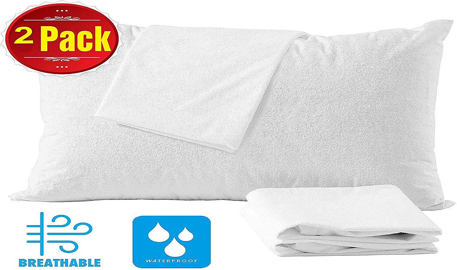 MMSD 4 Pack Cotton King Pillow Protectors 100% Waterproof Life Time Replacement Zippered Cotton White Terry Pillow Encasement Washable Long Life Soft Breathable Fabric Set: Amazon.es: Hogar