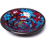 "Glass Mosaic Round Accent Plate Platter Decorative Catch-All Tray Dish Centerpiece Bowl - 11"" Large Modern Style in Blue, Red, Purple, Yellow Colors for Living Room, Hallway Console Side Table Decor"