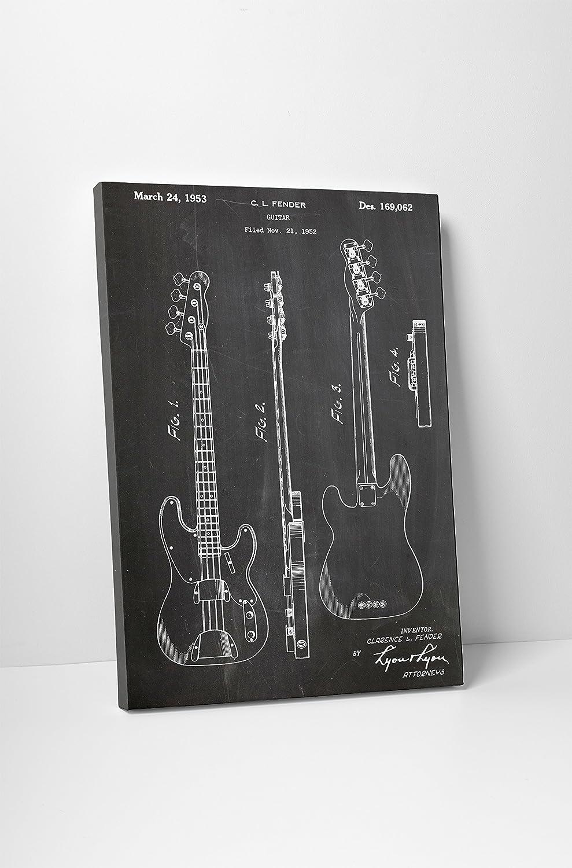 Gibson Les Paul Guitar Patent Print Gallery Wrapped Canvas Print BONUS DECAL!
