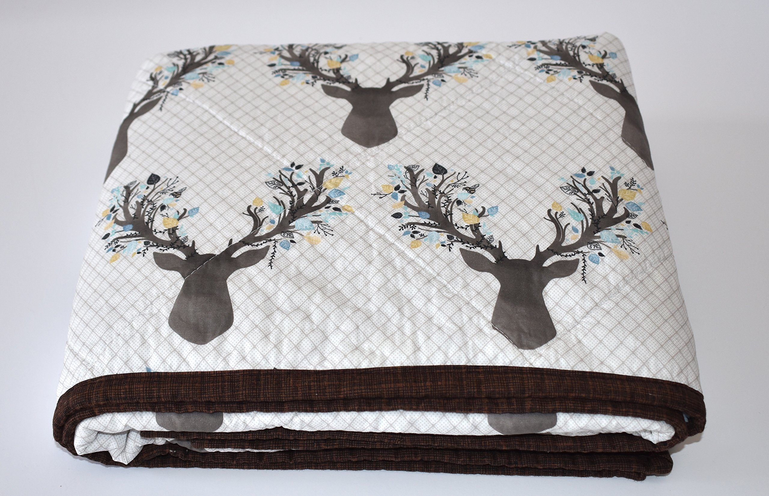 Antlers is Aspen Quilt - Baby or Toddler size , deer, going stag, baby bedding, minky quilt